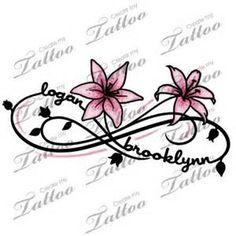 Two Kid's Names Foot Tattoo | logan+brooklynn+lily #77508 ...