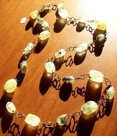 Prehnite Gemstone Nugget Necklace | evezbeadz - Jewelry on ArtFire