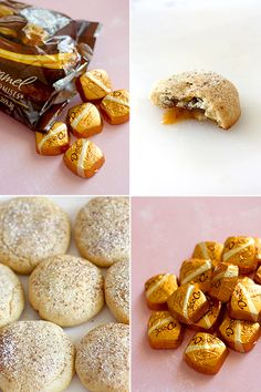caramel surprise cookies. i don't like caramel but these look so cute and delicious! recipe:http://www.diamondsfordessert.com/2010/06/caramel-surprises.html#more