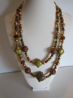 Beautiful Necklace golden and olive beads and glass by Rustic Wedding Jewelry, Fall Jewelry, Unique Jewelry, Beautiful Necklaces, Fall Wedding, Beaded Necklace, Pearls, Handmade Gifts, Glass