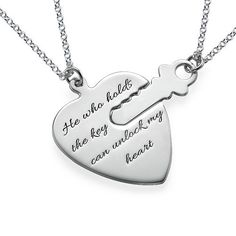 Who holds the key to your heart?  Have them wear it while you wear the other half with the Engraved Key to My Heart Necklace.