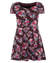 Inspire Burgundy Rose Print Sweetheart Skater Dress