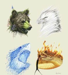 The Four Elements- Limited Edition Animal Art Print. Berkley Illustration The Four Elements- Limited Edition Animal Art Print. Mythical Creatures Art, Magical Creatures, Elemental Magic, Animal Art Prints, Illustration, Elements Of Art, Four Elements Tattoo, Creature Design, Amazing Art