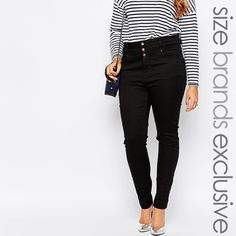 NWT New Look Plus Size Black High Waisted Jeans NEW WITH TAGS! New Look brand super soft black high waisted jeans. Size 20 US or 24 UK. 3 button and fly zip fastening. Willing to negotiate price! New Look Jeans