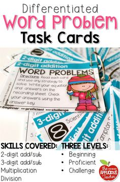 Differentiated Word Problem Task Cards! Love that there are three levels for every skill. Just what I need for my struggling 2nd graders and those who are ready for 3rd grade skills!  2-digit addition, subtraction, 3-digit addition, subtraction, multiplication, and division