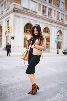 Wednesday, January 4, 2017 My Favorite Black Midi Dress For Winter Time - BLACK DRESS: Leith | BOOTIES: Topshop | JACKET: old via Nordstrom Anni Sale | SUNGLASSES: Ray-Ban | LIPS: 'Rebel' | HANDBAG: Prada