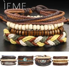 Cheap jewelry water, Buy Quality jewelry first directly from China jewelry worker Suppliers: 1Set Multilayer Leather Bracelet Men Jewelry Boho Rock Wood Bead Bracelets For Women Love Vintage Bracelets & Bangles Gift