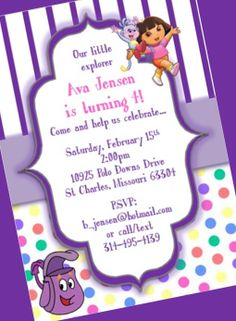 Dora the Explorer Birthday Party Invitation by yourdayinvites, $1.75