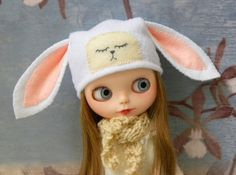 Blythe+hat+with+face+/+bunny+/+pink+/+white+by+AltheasDollHouse,+$21.00