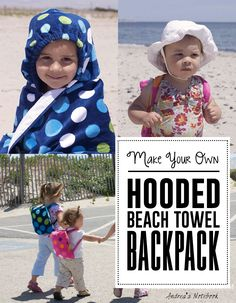 Hooded Beach Towel Backpack Tutorial Sewing Level: Beginner Time: Approximately 1 hour Supplies: 1.5 beach towels (I used 30″X60″ towels, the thinner kind. BEWARE the really thick, plush towels will be difficult to sew multiple layers together and you probably will break needles) 17″ elastic~ 1/4″ or 3/8″ will work well. (optional) Coordinating thread A …