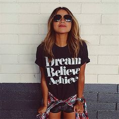 Dream Believe Achieve Crack Letters Printed Short-sleeved T-shirt