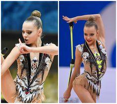 Rhythmic gymnastics leotard: Polina Shmatko (Russia), clubs 2016 (how it changed within 2 months)