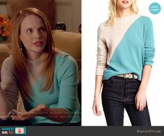 Daphne's blue and beige colorblock sweater on Switched at Birth.  Outfit Details: http://wornontv.net/52385/ #SwitchedatBirth