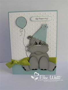 I did a pink version of this not so so long ago but they are so much fun to make I decided to do one in blue. Boy Cards, Kids Cards, Cute Cards, Paper Punch Art, Punch Art Cards, Tarjetas Diy, Kids Birthday Cards, Animal Cards, Baby Kind
