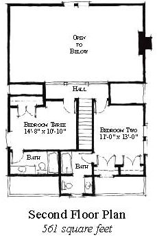 Second Floor Plan of Country   Historic   House Plan 73859
