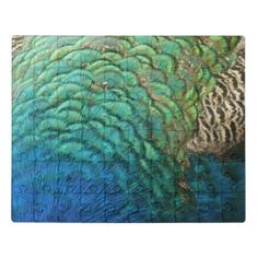 Peacock Feathers I Colorful Abstract Nature Design Jigsaw Puzzle - red gifts color style cyo diy personalize unique