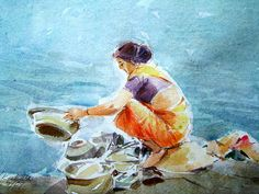 Washing the utensils at a pond in rural India. Watercolor Architecture, Watercolor Landscape Paintings, Watercolor Paintings, Watercolors, Art Drawings For Kids, Cool Drawings, Drawing Ideas, Environment Painting, Indian Illustration