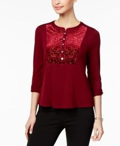 Ny Collection Petite Burnout-Velvet Henley Top - Red P/XL
