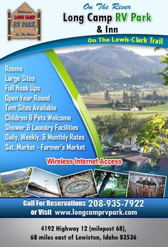 KAMIAH ID - Long Camp RV Park Saturday Farmers' Market being this Saturday, 9-1! Vendor Space is always FREE. Perfect place to stay, play & work! Join us in May for Buy Two Nights Get One Night Free! Call us at 208-935-7922 or Visit our website www.LongCampRVPark.com for reservation information.