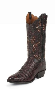 MEN'S BLACK CHERRY BELLY ANTIQUE SIGNATURE SERIES™ CAIMAN WESTERN BOOTS WITH HAND-TOOLED TOPS