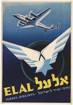 EL AL ISRAEL AIRLINES VINTAGE AVIATION LUGGAGE BAGGAGE LABEL