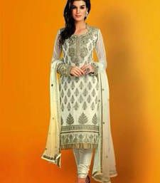 Buy White embroidered georgette unstitched salwar with dupatta wedding-salwar-kameez online