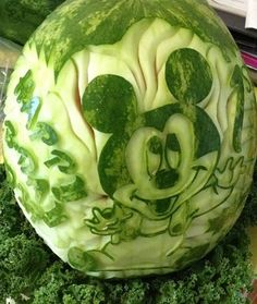 #Watermelon carving. Art. Inspiration. Baby Mickey Mouse. Disney Fruit #Summer artists, mickey mouse, art watermelon, carv fruit, watermelon art, art mickey, watermelon carving, babi mickey, food art