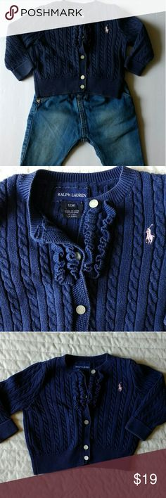 Navy blue Ralph Lauren girl sweater size 12 months Item Sweater Brand Ralph Lauren Size 12 months Color Navy blue with light pink logo Condition: No damage or stains, only normal wear. Colors have faded a little. Pet-free smoke-free home Styling ideas: Looks great with either skinny or baggy jeans, pink trousers or skirt. Very versatile, can be either dressed down or up Ralph Lauren Shirts & Tops Sweaters