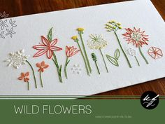 Wild Nature Five nature-inspired embroidery patterns bundled into one, including Wild Coral, Wild Ferns, Wild Flowers, Wild Grass and Wild Pods The five designs each measure around 16½ x 7 inches (42 x 18cm). This is a bundle of five hand embroidery patterns in PDF format, made