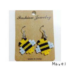 Bee earrings perler beads by mbxel
