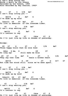 Song Lyrics with guitar chords for I Can't Stop Loving You - Ray Charles, 1962 Guitar Chords And Lyrics, Guitar Chords For Songs, Music Guitar, Music Lyrics, Guitar Tips, Acoustic Guitar, Ukulele Chords, Music Music, Music Stuff