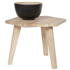 Vintage Couchtisch Beistelltisch Anstelltisch HEX Sofatisch Holz Eiche natur