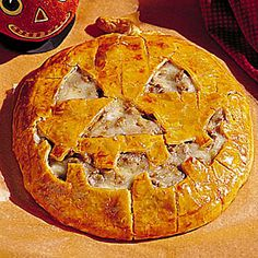 Jack-O'-Lantern Cheeseburger Pie | SouthernLiving.com  This is what I am making for dinner tonight.  So delish!  Mine has a less scary face.  Thanks Kathy Sturgeon for the recipe two years ago.