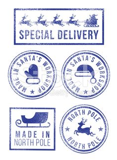 Santa's made in North Pole Christmas rubber stamps royalty-free stock vector art