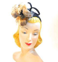 Darling Curly Feather Topped Brown Wrap Over Hat circa 1940s - Dorothea's Closet Vintage