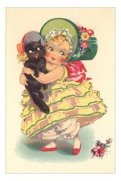 girl, black cat, kitten, bonnet, bloomers, hoop skirt