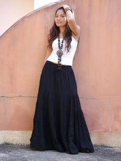 Long Skirt..Long Boho Skirt ....Long Maxi Skirt ..Full Length Skirt .. Color Black