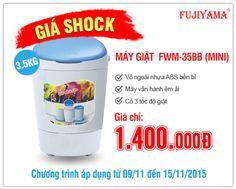Bạn cần mua máy giặt chuyên giặt quần áo trẻ em??? Máy giặt Fujiyama 3.5KG FWM-35BB sẽ là lựa chọn tuyệt vời cho bạn. =>>Với 3 tốc độ giặt - Vỏ ngoài siêu bền - Vận hành êm ái <<= Đặc biệt, giá cực Shock tại Điện Máy Thiên Hòa chỉ 1.400.000đ ( chưa VAT) =>>Gọi 1900 1829 phím 1 để biết thêm chi tiết<<= Thông tin sản phẩm: http://www.dienmaythienhoa.vn/may-giat-fujiyama-3.5kg-fwm-35bb-mini.html