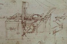 Leonardo da Vinci - Codice Atlantico - Sega idraulica ad avanzamento automatico
