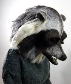 Hand felted Raccoon animal mask / head dress suitable for performace, dance or theatre. $735.00, via Etsy.