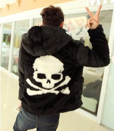Cheap hoodie leather jacket, Buy Quality leather jacket leather jacket directly from China coats leather jackets Suppliers: Hot sell 2016 Winter new Leather grass overcoats male skull pattern fashion Hoodie faux fur coat Cozy black rabbit fur jacket Rabbit Fur Jacket, Faux Fur Jacket, Fur Coat, Luxury Mens Clothing, Men's Clothing, Skull Fashion, Fashion Men, Skull Hoodie, Pattern Fashion