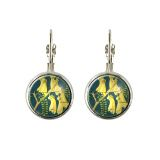 New Zealand Kowhai postage stamp earrings. Made with original postage stamps in a range of hypoallergenic settings.