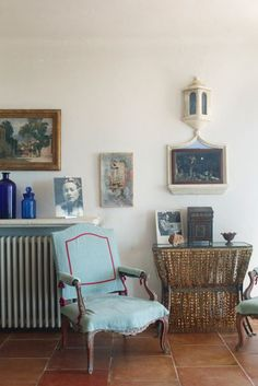 Blue Armchair - This house in the south of France was inherited by the creator of Mexican furniture brand Casamidy and carefully updated to retain its original charm - on HOUSE by House & Garden. Mexican Furniture, Home Decor Furniture, Furniture Design, Grey Velvet Chair, Velvet Chairs, Blue Armchair, Mexican Home Decor, Upholstered Swivel Chairs