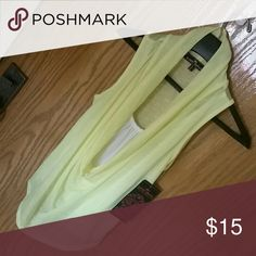 Almost Famous adorable top Sheer lightweight sleeveless yellow slouch neck with built in white tee in front of shirt only.  Dressy or casual,  this top is a winner. Never worn. Tag still attached Almost Famous Tops Tees - Short Sleeve