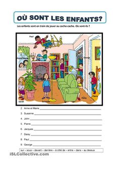 It's a worksheet to practise prepositions of place. French Teaching Resources, Teaching French, French Prepositions, Where Are The Children, Body Preschool, French Worksheets, Material Didático, Core French, Ap French