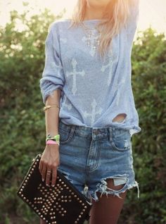 ripped denim shorts | Colorfulland