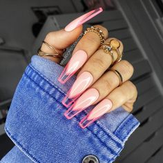 French Tip Acrylic Nails, Best Acrylic Nails, Acrylic Nail Designs, Dope Nail Designs, Pink Tip Nails, Gel Nails, Pink Stiletto Nails, Bling Nails, Minimalist Nails