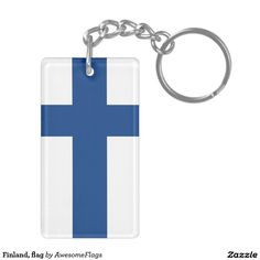 Finland, flag Double-Sided rectangular acrylic key ring