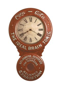 "Vintage Coke Clock was the ideal brain tonic before the FDA banned the use of cocaine in their formula; remember the slogan ""Coca-Cola Relieves Exhaustion. Old Clocks, Antique Clocks, Ideal Brain, Coca Cola Vintage, Tick Tock Clock, Coca Cola Decor, Coca Cola Kitchen, Always Coca Cola, Vintage Decor"