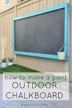 How to make a giant outdoor chalkboard for your yard. This is such a perfect ou… How to make a giant outdoor chalkboard for your yard. This is such a perfect outdoor activity for the kids and it has held up for over 2 years! Kids Outdoor Play, Kids Play Area, Outdoor Learning, Backyard For Kids, Backyard Games, Kids Yard, Large Backyard, Backyard Play Areas, Outdoor Play Areas